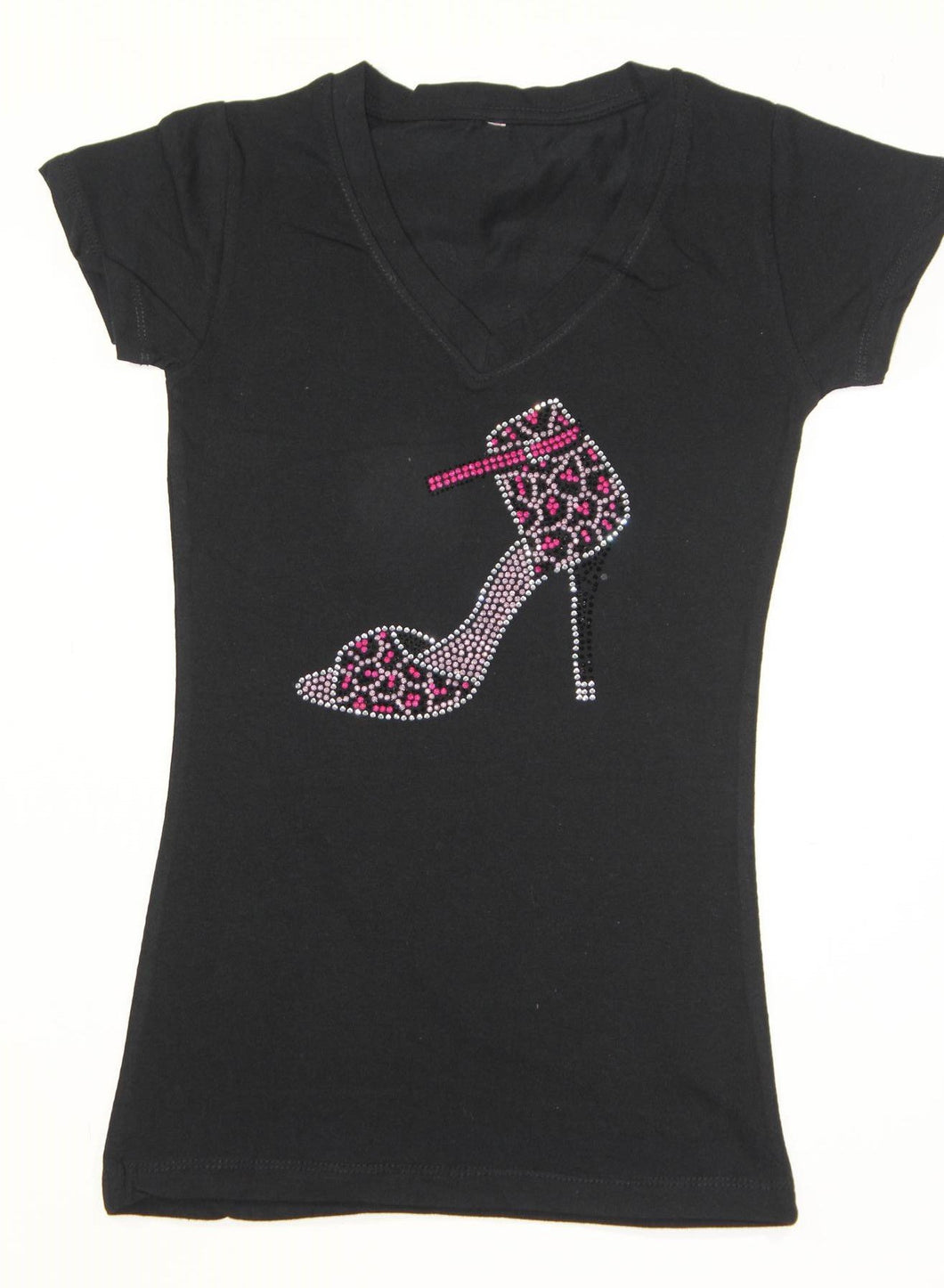 Strappy Slingback Heel Animal Print Pink and Silver Rhinestone
