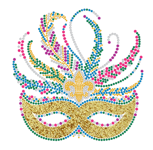 Mardi Gras Rhinestone Mask with yellow