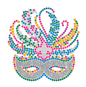 Mardi Gras Rhinestone Mask with Silver Accents