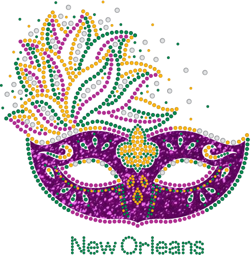 Mardi Gras Rhinestone Mask with purple