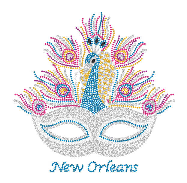 Mardi Gras Rhinestone Mask with Peacock Design