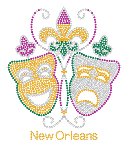 Tragedy and Comedy Masks with a Fleur de Lis