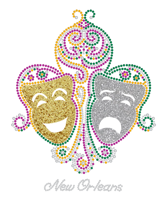 Comedy and Tragedy Masks with Swirls