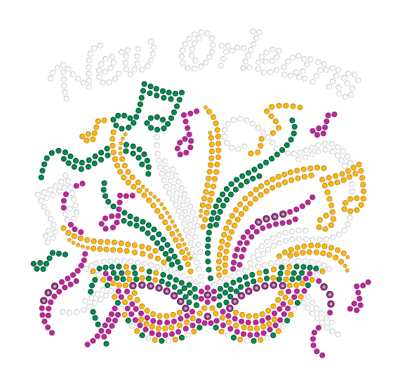 Mardi Gras Rhinestone Mask with Musical Notes