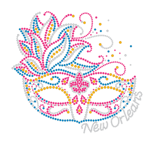 Mardi Gras Rhinestone Mask with Pink and Blue Feathers