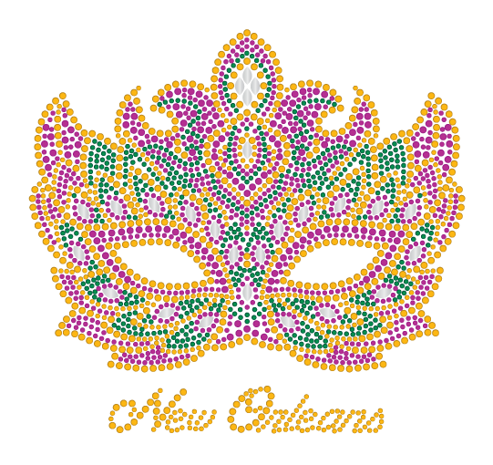 Mardi Gras Rhinestone Mask with Ornate design