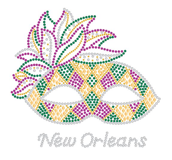 Mardi Gras Rhinestone Mask with Harlequin Diamonds
