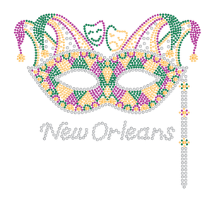 Mardi Gras Rhinestone Mask with Jester Crown