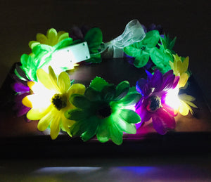 Mardi Gras Light-Up Flower Headband