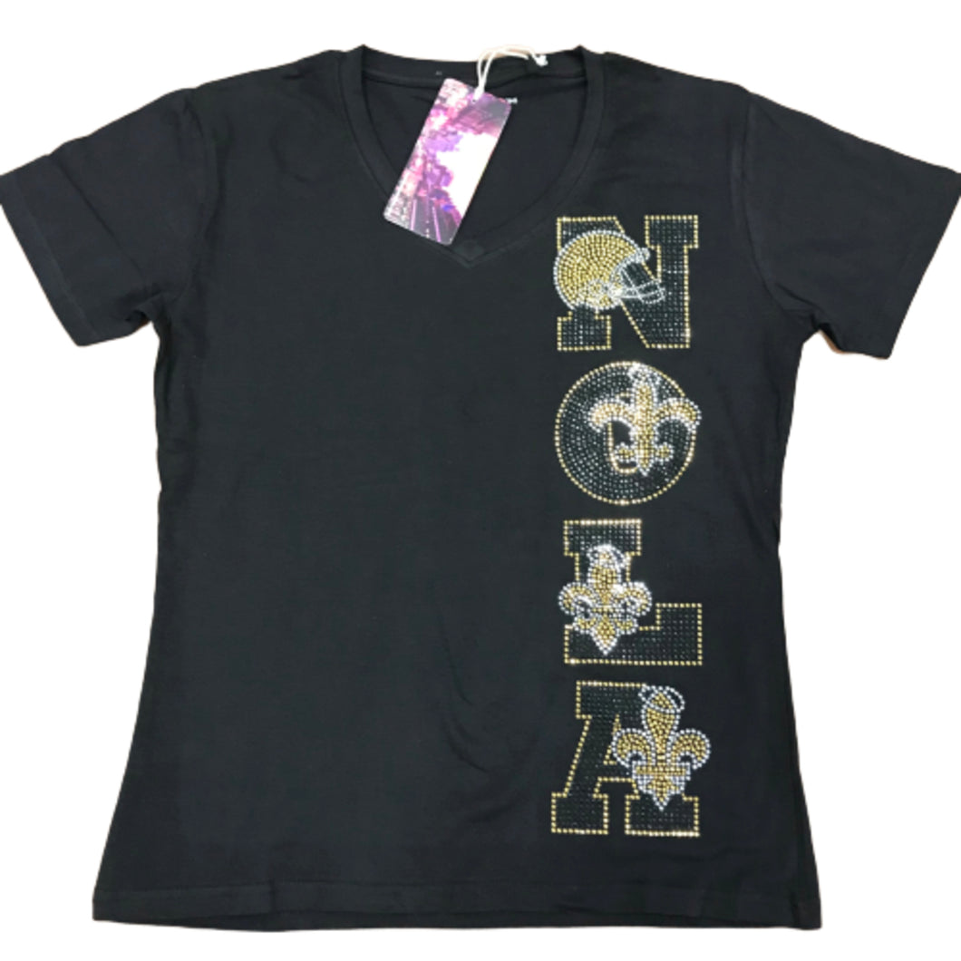 NOLA Rhinestone V-Neck Black Shirt Sleeve Ladies Shirt