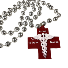 """Proud to Be a Nurse"" Medallion on Red and Silver Specialty Bead"
