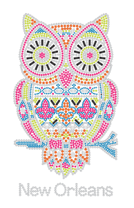 Multi Color Owl with Fleur de Lis Rhinestone Tshirt