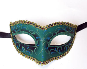 Glitter Swirls Eyelet Mask With Trim
