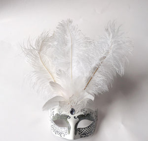Mask with Glitter Face and Feathers