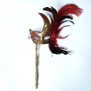 Flame Mask with Flower Two Feathers and Detachable Stick