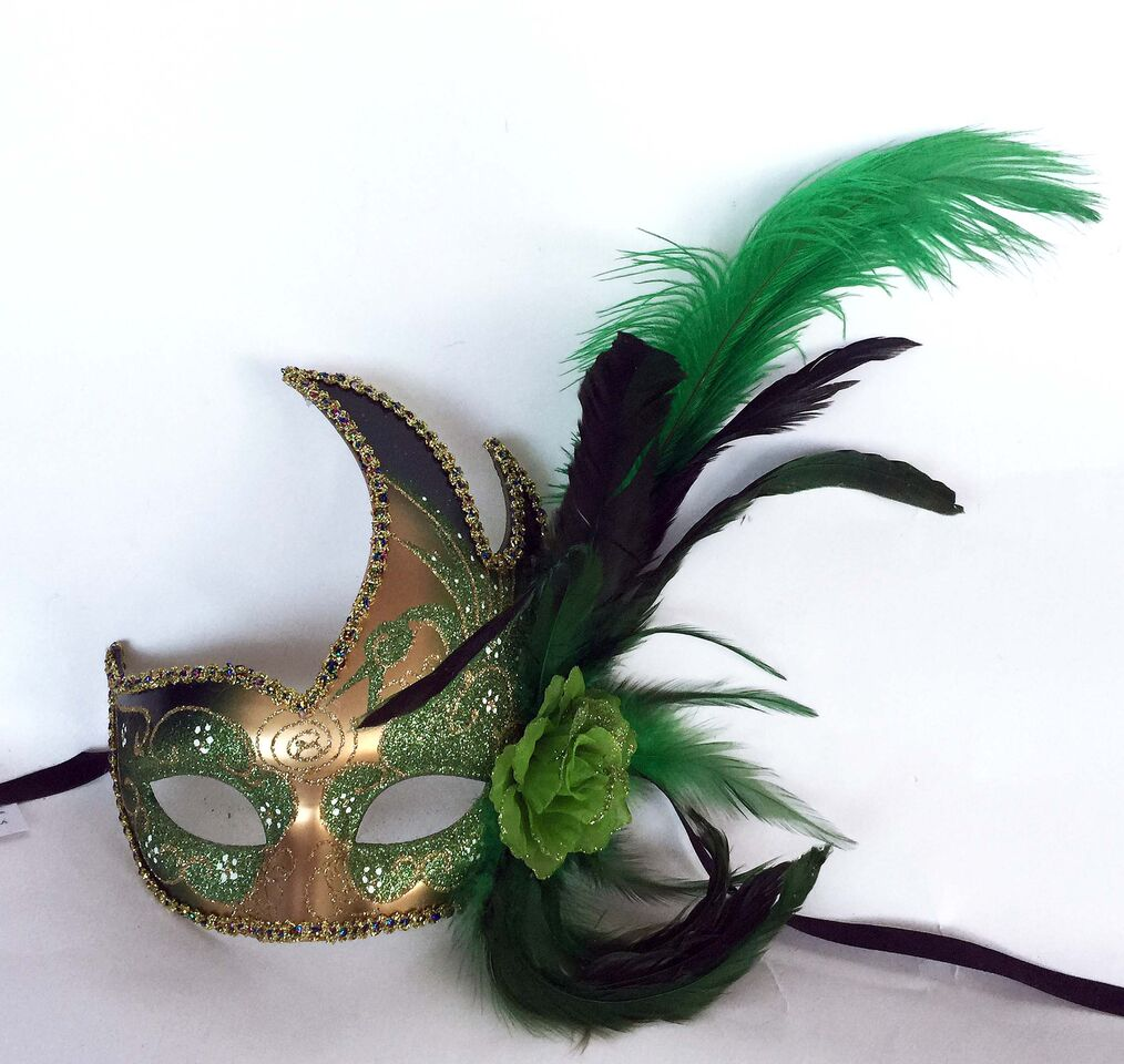 Flame with Two Feathers and Side Flower- Green/Gold