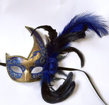 Flame with Two Feathers and Flower- Royal Blue/Gold