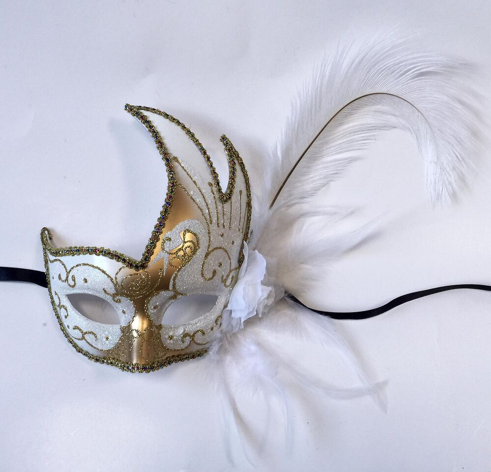 Flame with Two Feathers and Flower- White/Gold