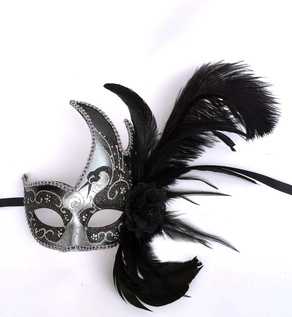 Flame with Two Feathers and Flower Mask- Black/Silver