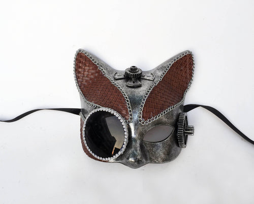 Steampunk Cat Mask with Leather Accents