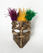 Warrior Mask Full Face with Center Skull and Feathers