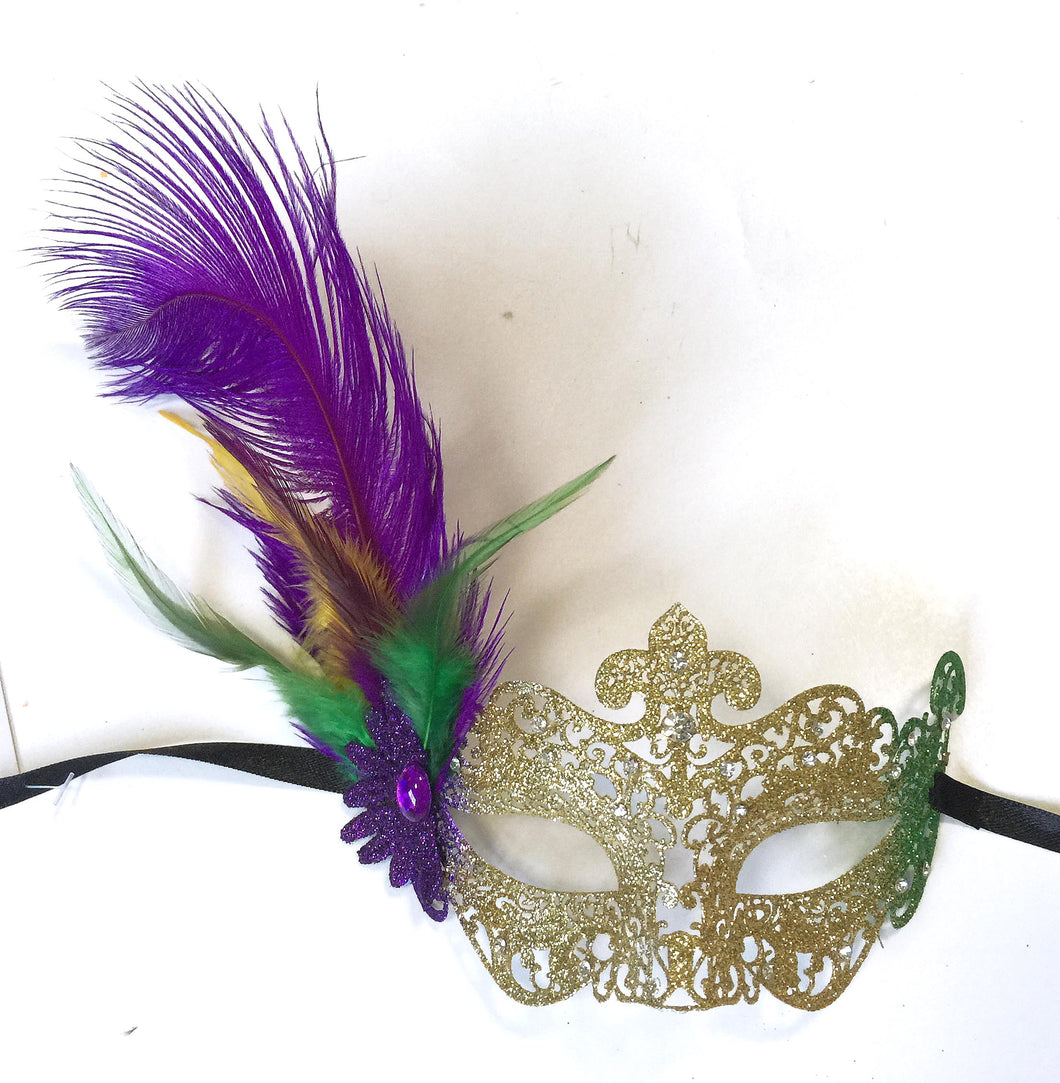 Metal Laser Cut Mask with Center Fleur de Lis and Side Feathers