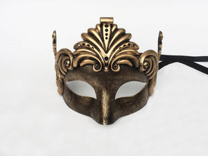 Bronze cat eye mask with Romanesque swirls