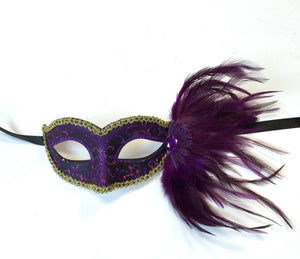 Glitter Swirl Eyelet Mask With Side Feathers