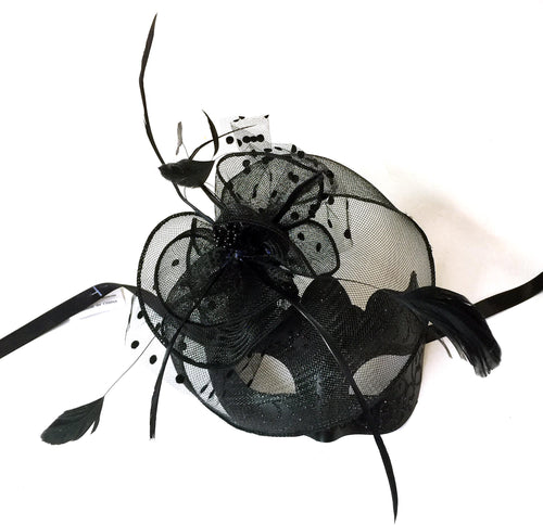Black Eyelet Mask with Net and Fascinator