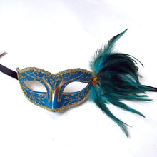 Eyelet Mask with Jewel and Side Feathers