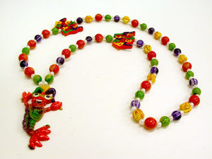 Crawfish Lets Party Trip Medallions with Red, Yellow, Green, Purple Mosaic Specialty Beads