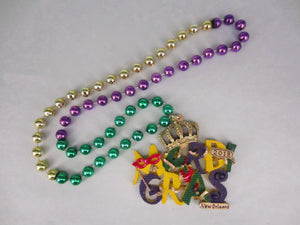Mardi Gras 2018 Medallion on a Purple Green Gold Specialty Beads