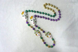 Full Face Masquerade Faces on Purple Green Gold Specialty Beads
