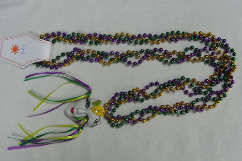 Full Face Masquerade Face with Ribbons on a Braided Purple Green Gold Specialty Beads