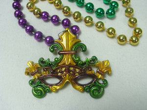 Venetian Mask with Fleur De Lis Medallion on a Purple Green Gold Specialty Beads