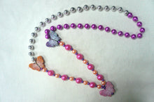 Butterfly Glittered Trio on a Pink Silver Specialty Beads