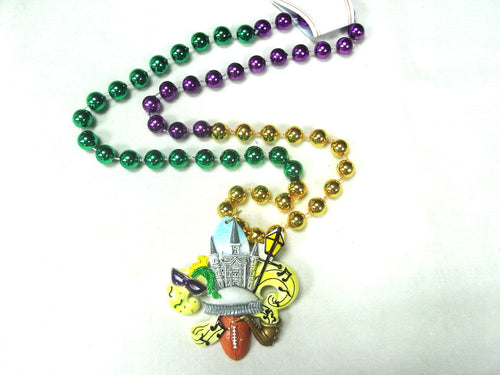 Cathedral, Superdome, NOLA Symbols on a Fleur De Lis Medallion on a Purple Green Gold Specialty Bead