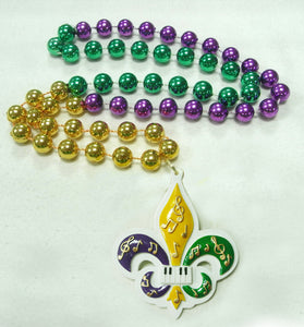 Fleur de Lis Music Notes on a Purple Green Gold Specialty Beads