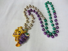 Comedy Tragedy Glitter Medallion with Trumpet on Purple Green Gold Specialty Beads