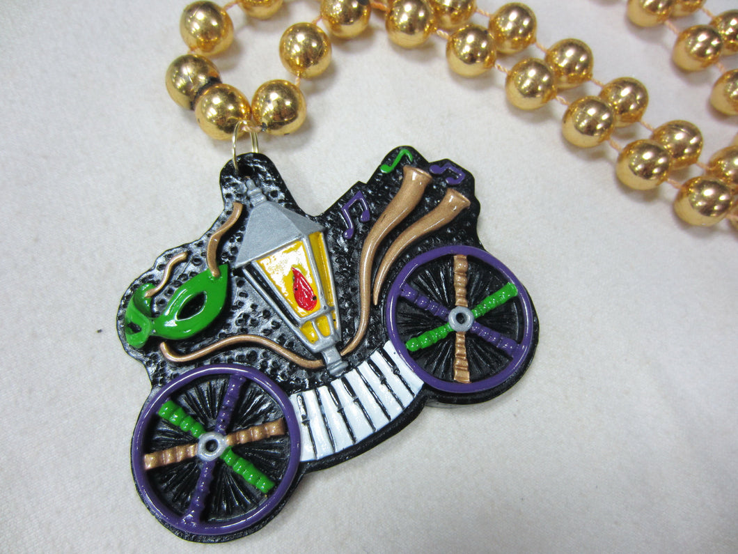 Bicycle featuring Piano, Street Lamp, and Carriage Wheels on Black Specialty Beads