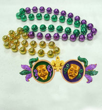 Glitter Comedy Tragedy Sunglasses on a Purple Green Gold Specialty Beads