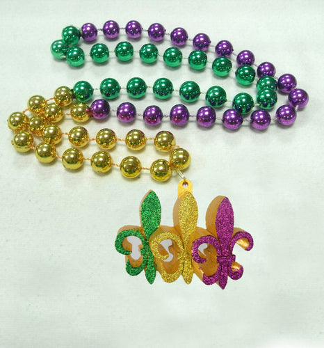 Purple Green Gold Trio of Fleur De Lis on a Purple Green Gold Specialty Beads