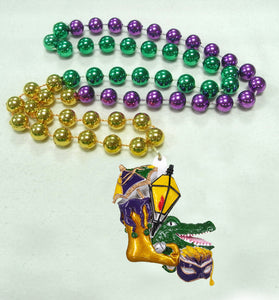 Alligator, Jester Shoe, Mask Medallion on a Purple Green Gold Specialty Beads