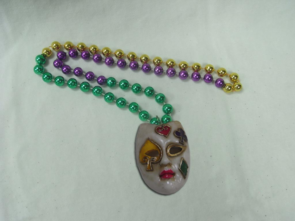 Antique Mask with Card Symbols on Purple, Green, Gold Specialty Beads
