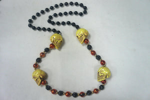 Four Skull Heads (Halloween) on Black and Red Specialty Beads