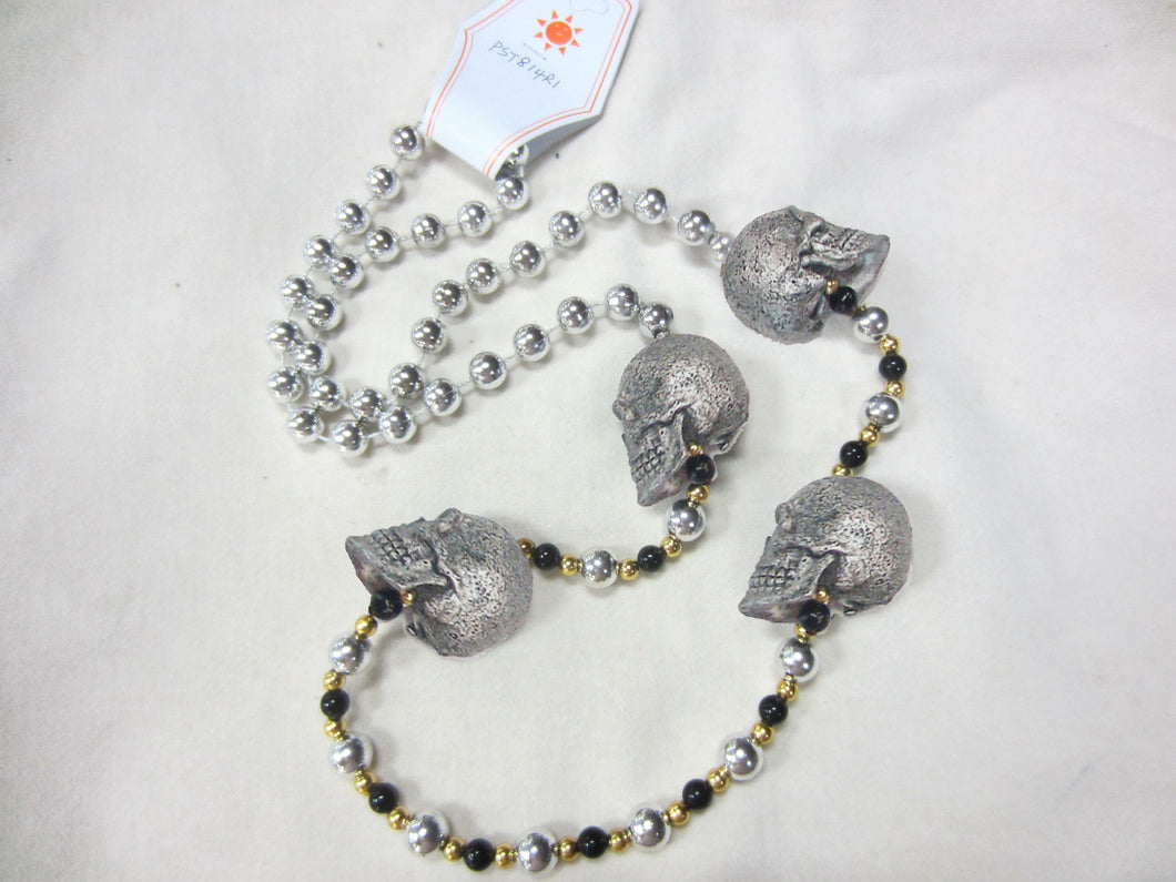 Face Skulls Four Silver Glitter Medallions (Halloween) on Black and Silver Specialty Beads