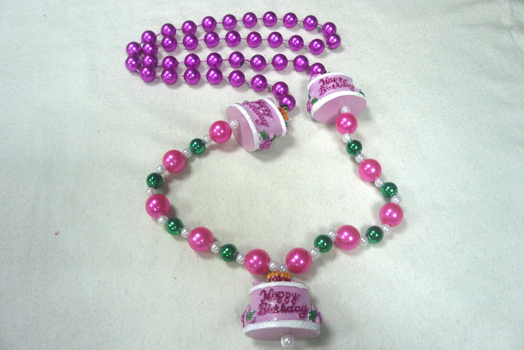 Happy Birthday Cake Trio Medallions with Pink and Green Specialty Beads