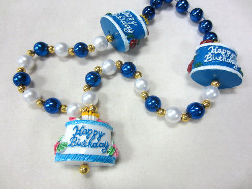 Happy Birthday Cake Trio Medallions with Blue and Pearl Specialty Beads
