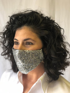 Silver Tinsel Face Mask
