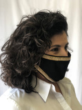 Black with Gold Tinsel Border Face Mask
